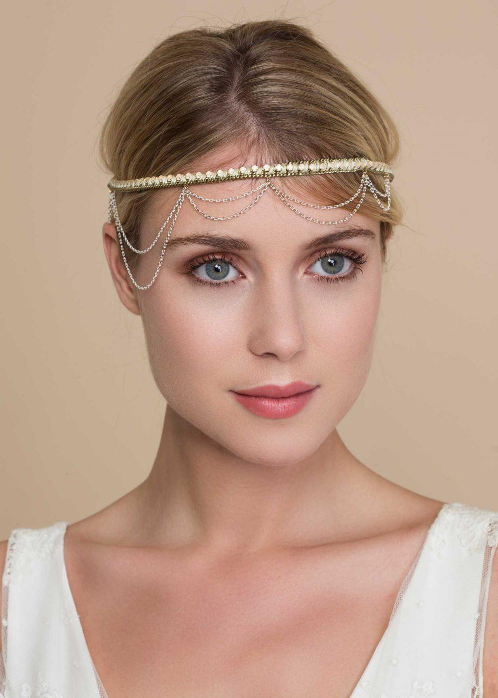 Headband-perles-doré-blanc-octave